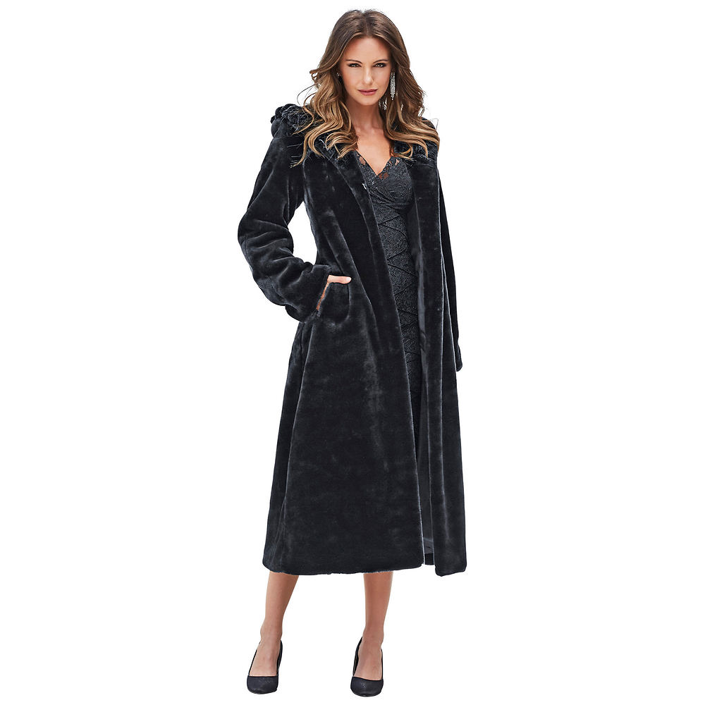 1930s Style Coats Faux Fur Hooded Full-Length Coat $179.95 AT vintagedancer.com