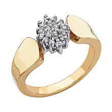 Cluster Pave Gold Plated Ring