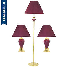 3-Pc. Lamp Set - Burgundy