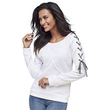 Lace Up Sleeve Sweatshirt