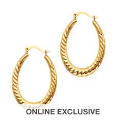 10K Gold Oval Hoop Earrings