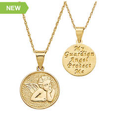 14K Guardian Angel Necklace