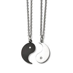 Stainless Steel 1/2 Black IP-Plated Yin and 1/2 Yang with CZ Necklace Set