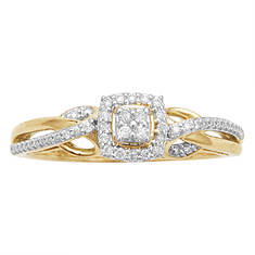 Women's 10K Gold Ring With Diamond Accents