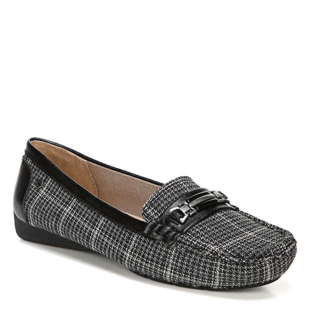 *Feel easy and breezy in this stylish moccasin *Faux leather upper with moc stitching and metallic hardware detail *Soft System® comfort package provides all-day support flex and cushioning *Plush layer of Velocity with Memory Foam® cradles your foot *Traction outsole provides extra stability