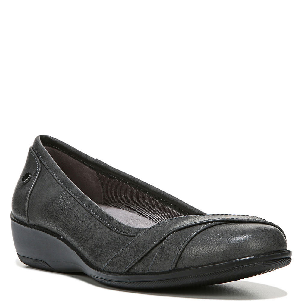 *Feel light and easy all day in this effortless wedge *Faux leather upper with crisscrossing strap detail at the toe *Soft System® comfort package provides all-day support flex and cushioning *Plush layer of Velocity with Memory Foam cradles your foot *Traction outsole provides extra stability *1-5/8\\\