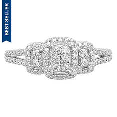 Sterling Silver 1/10 ct. tw. Diamond Halo Ring
