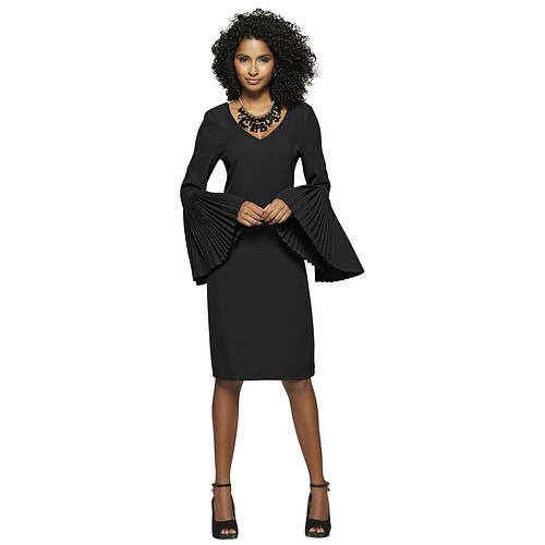 Pleated Bell-Sleeved Dress