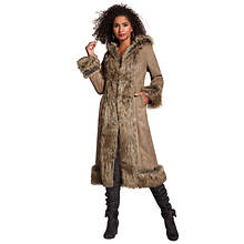 Fur-Trimmed Faux Suede Coat