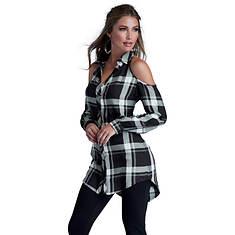 Plaid Cold Shoulder Tunic