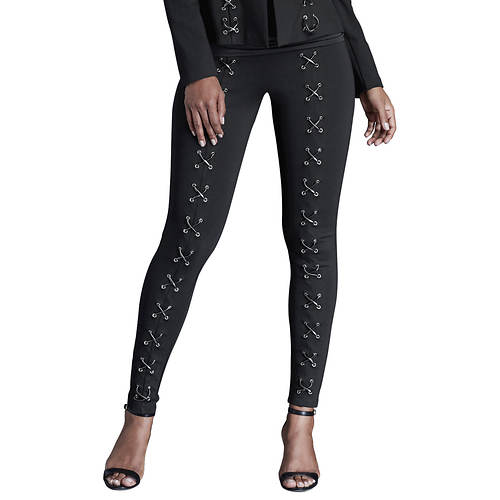 Lace-Up Ponte Skinny Pants
