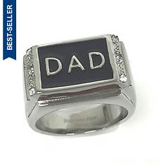 Stainless Steel CZ Dad Ring