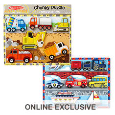 Melissa & Doug Chunky Bundle - Vehicles and Construction