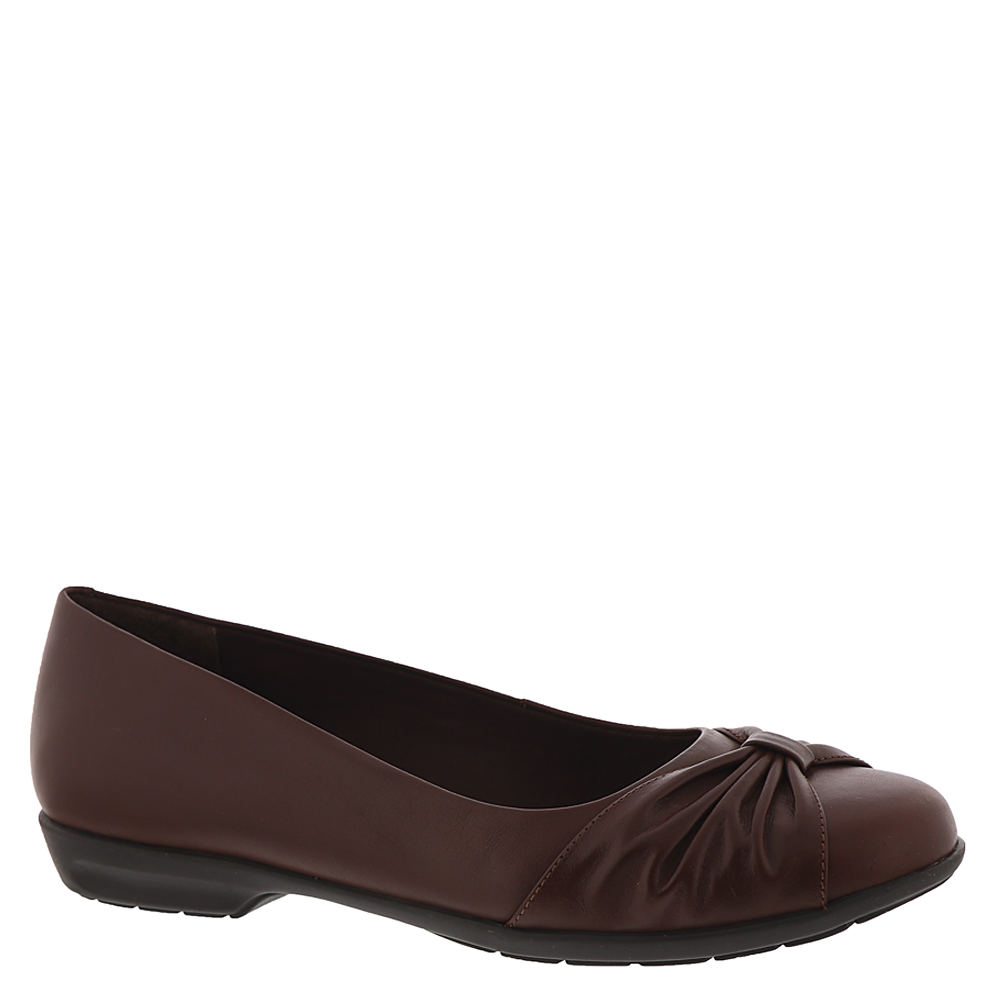 *A pretty pleated toe bow makes this supple skimmer wonderfully versatile *Leather or stretch fabric upper *Slip-on style *Tiny Pillows® cushioned insole pampers your feet with a gentle massaging feel *First-step flexible rubber sole *3/4\\\