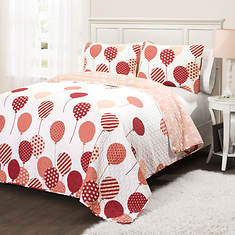 Lush Decor Flying Balloon 2-Piece Quilt Set