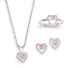 """Girls' Sterling Silver 15"""" Necklace, Earrings and Size 3 Ring Set"""