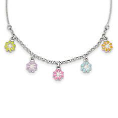 Girls' Sterling Silver Polished Enamel Flower Necklace