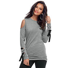 Lace-Up Sweatshirt Tunic