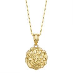 10K Gold Round Nugget Necklace