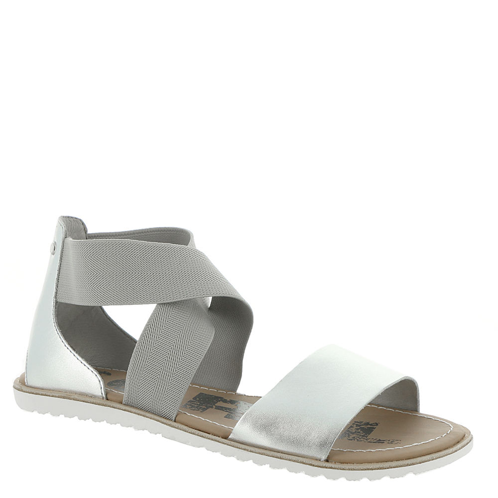*This glam sandal is sure to collect compliments wherever you wear it *Full-grain leather and stretch elastic upper *Stretch straps for easy slip-on wear *Leather-covered EVA footbed *Molded rubber sole *1/2\