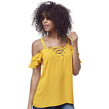 Lace-Up Cold Shoulder Top