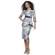 Navy Floral Skirt Suit
