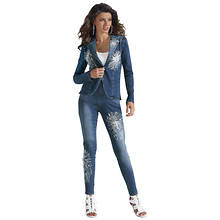 Sequin-Spangled Denim Set