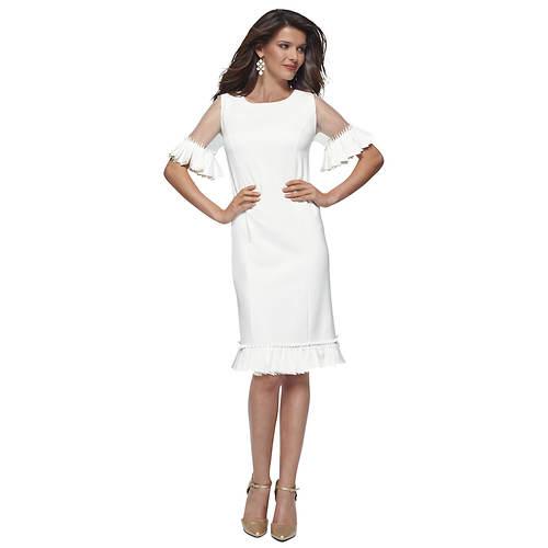 Short-Sleeve Ruffle Sheath Dress
