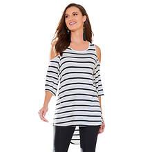 Cold Shoulder Striped Shirt