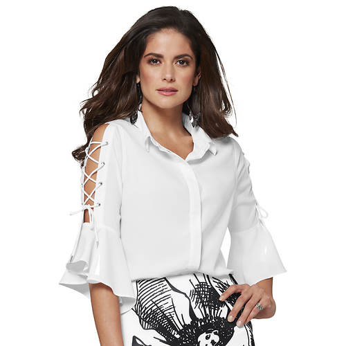 Luxe Lace-Up Ruffled Blouse