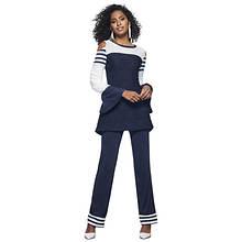 Cold Shoulder Stripe Bell-Sleeve Pant Set