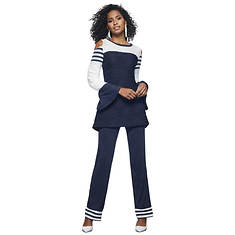 Cold Shoulder Stripe Bell-Sleeve Pant Set