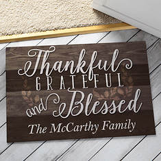 Personalized Door Mat - Thankful Grateful Blessed