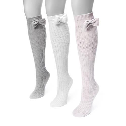 MUK LUKS Women's 3-Pair Snowflake Knee Socks