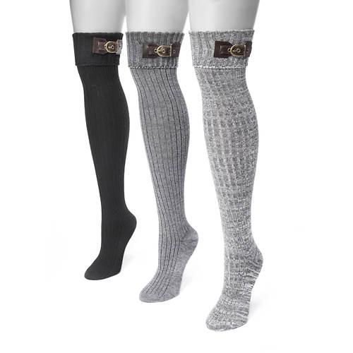 MUK LUKS Women's 3-Pair Buckle Cuff Over the Knee Socks