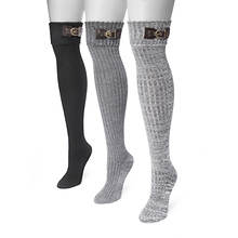 MUK LUKS Women's 3-Pair Buckle Cuff Over the Knee Socks