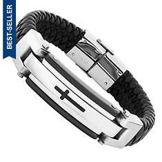 Black Leather Stainless Steel Bracelet (Men's)
