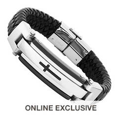 Black Leather Stainless Steel Bracelet (Men's)