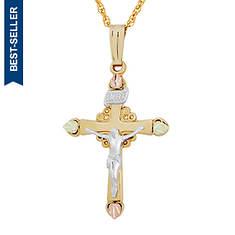 10K Black Hills Gold Crucifix Necklace