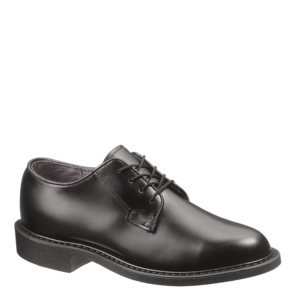*The Bates Leather Uniform Oxford features a polishable leather upper and a breathable moisture-wicking lining *Easy-to-polish durable leather upper *Breathable moisture-wicking lining *Cushioned removable insert for added comfort *Long-lasting Vibram® rubber outsole *Proudly manufactured in the USA