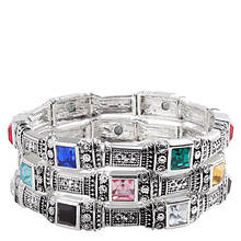 Silvertone Crystal Bracelet Set