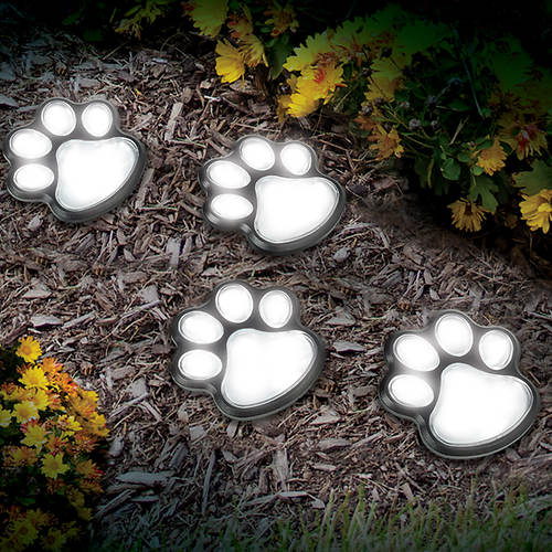 Solar Paw Print Garden Lights- Set of 4