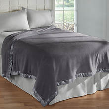 Satin-Trimmed Faux Fleece Blankets