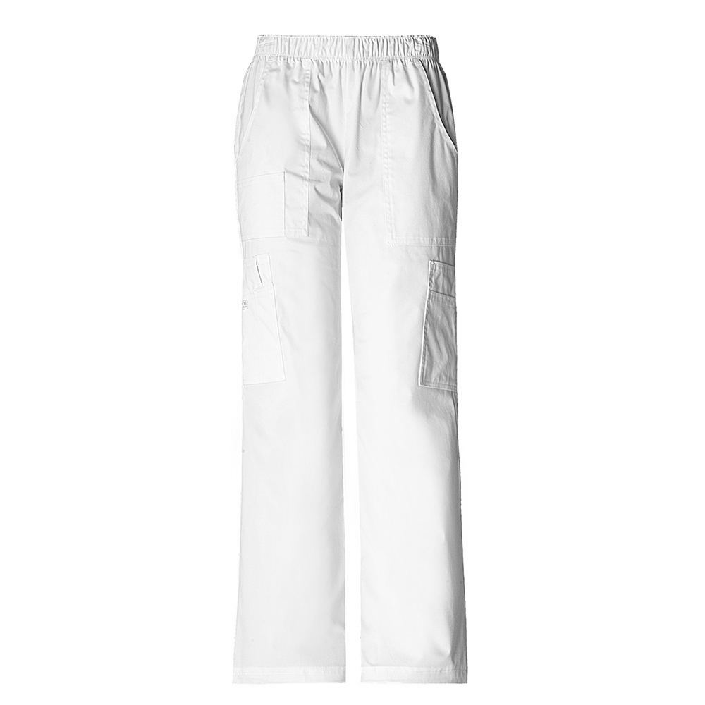 Cherokee Medical Uniforms Workwear Stretch Mid Rise Pullon White Pants 2X-Short