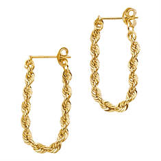 "1"" 10K Gold Rope Earrings"