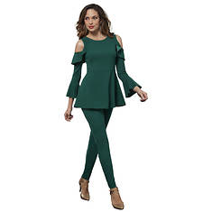 Cold Shoulder Peplum Pant Set