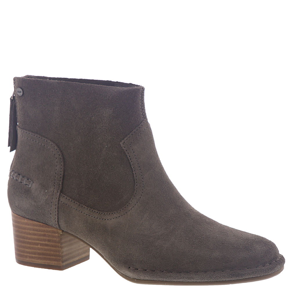 *Create new fashion ensembles with this versatile ankle bootie *Suede leather upper *Rear zipper closure *Leather and textile lining *Cushioning PORON® footbed *Man-made outsole *2\\\