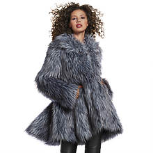 Flared Faux Fur Coat