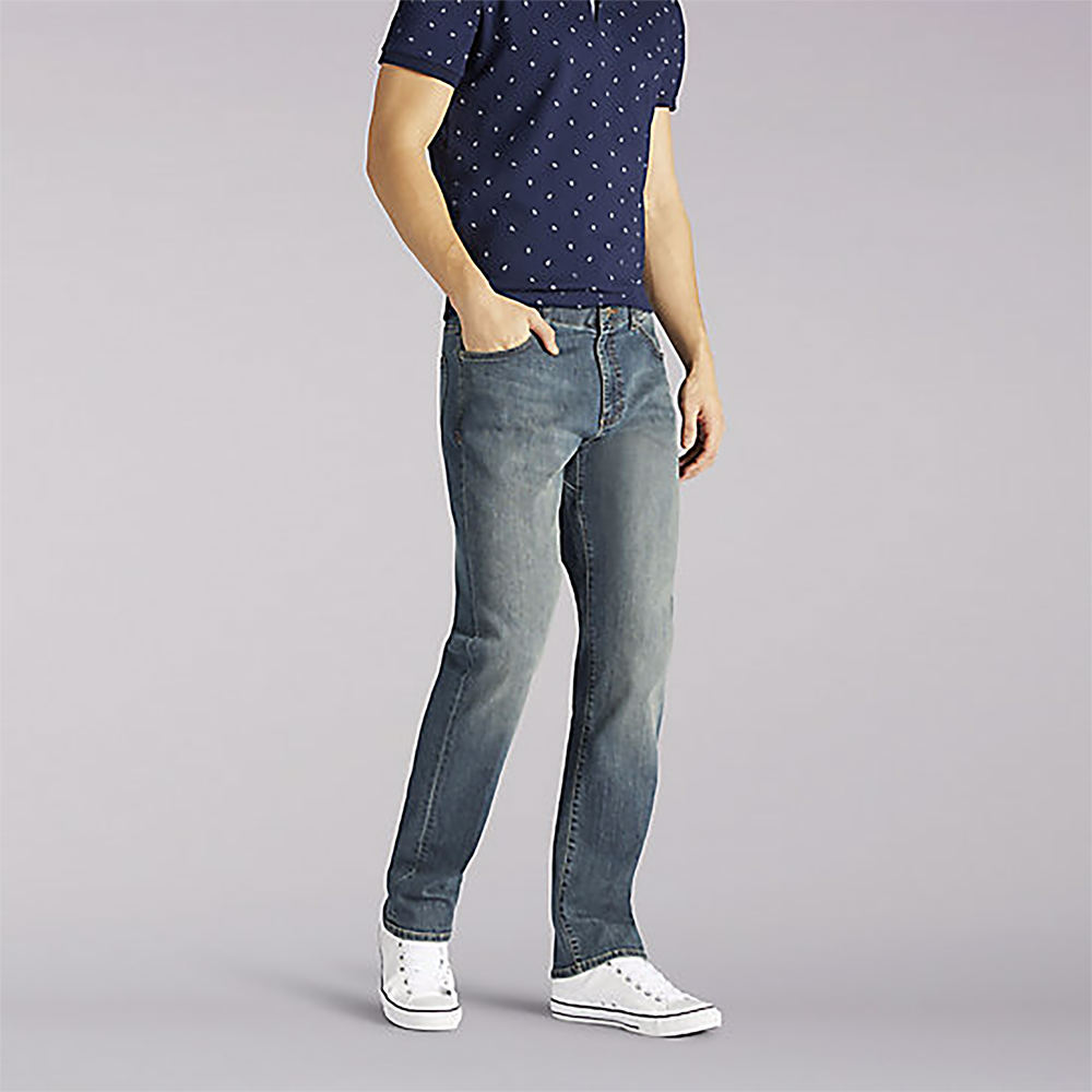 *These athletic-fit jeans give you more room through the seat and thigh while keeping a tapered leg *5-pocket styling *Button/zip fly *Fitted waist with comfortable flexible waistband *Cotton/poly/rayon/spandex *Machine wash *Import