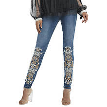Lace Design Embellished Skinny Jean
